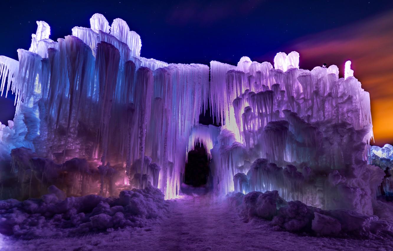 Photo wallpaper ice, winter, light, night, nature, paint, arch