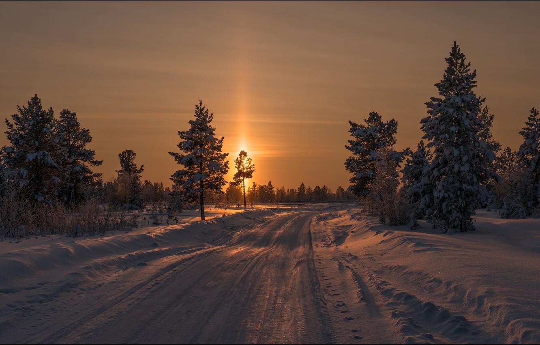 Photo wallpaper winter, landscape, sunset