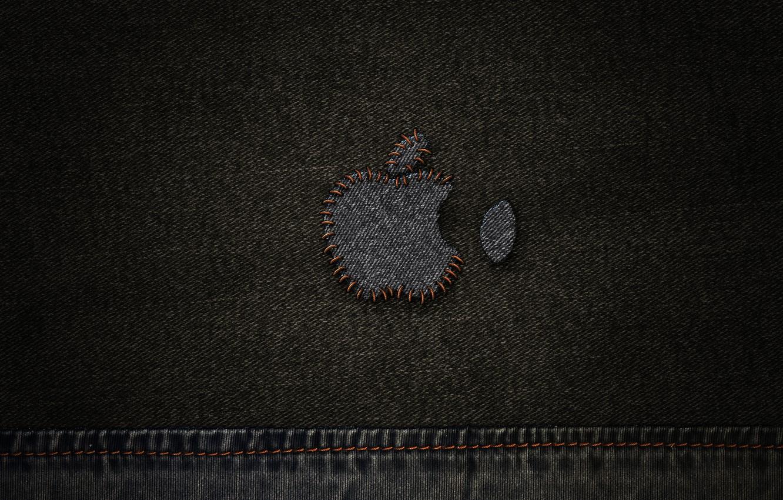 Photo wallpaper Apple, jeans, thread