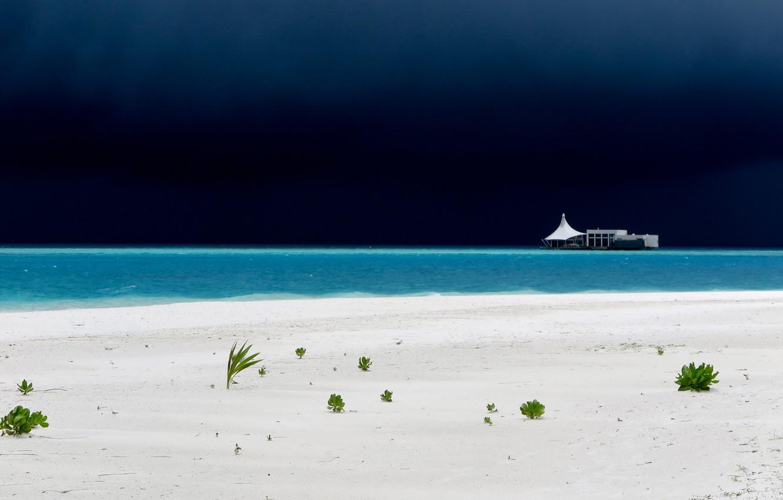Photo wallpaper sea, the storm, beach, landscape, storm, the Maldives, resort, sand.plant, Mainbody
