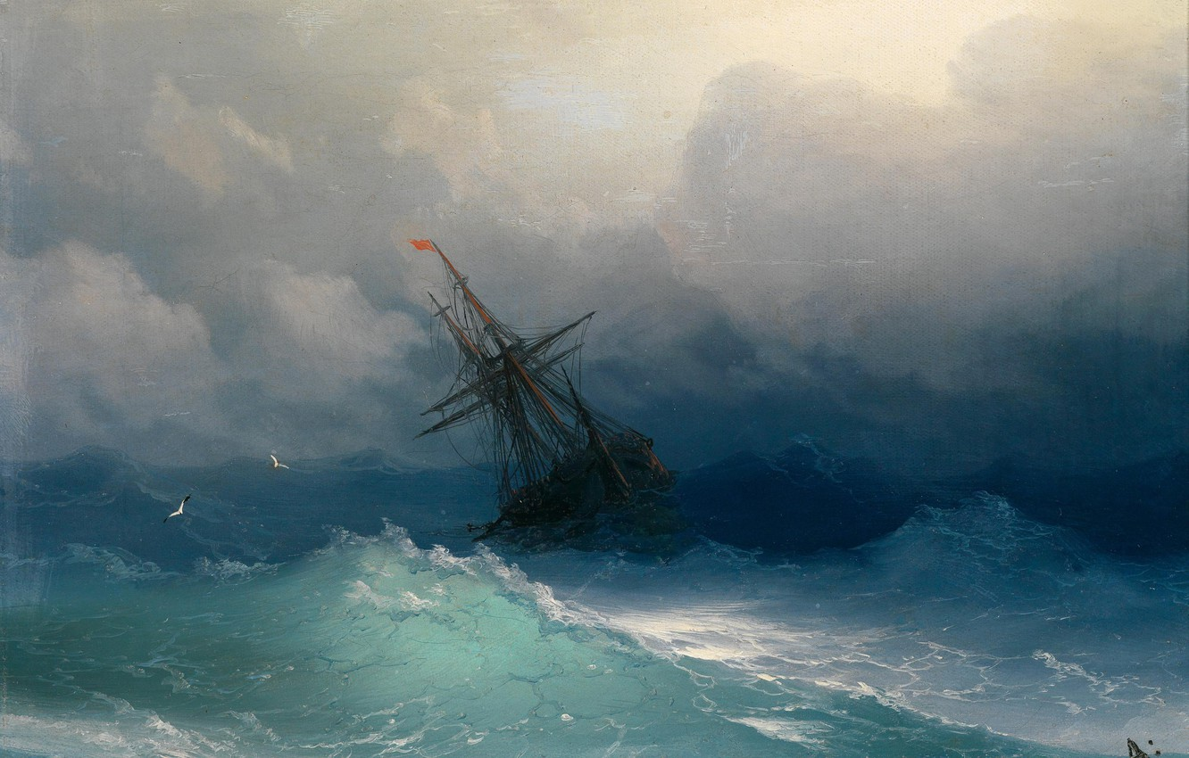 Photo wallpaper sea, picture, painting, Aivazovsky