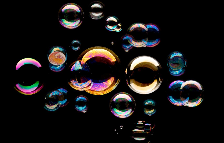 Photo wallpaper background, black, bubbles