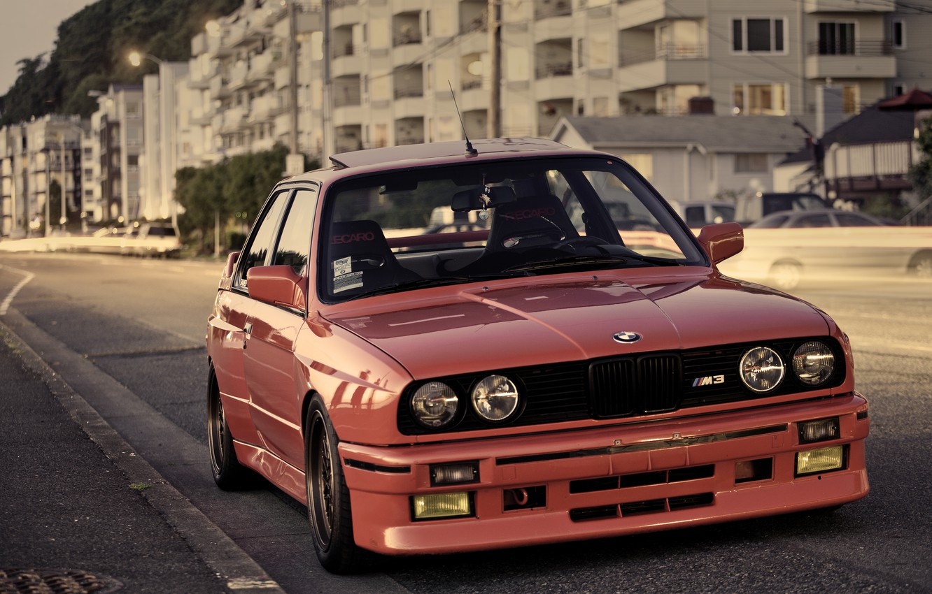 Photo wallpaper street, BMW, BMW, red, red, E30