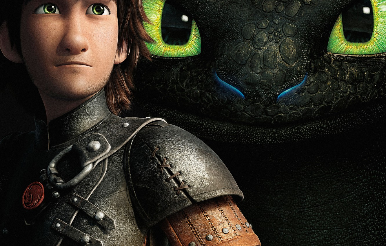 Photo wallpaper Dark, Action, Fantasy, Dragon, Green, DreamWorks, Wallpaper, Family, Eyes, Boy, Animation, Viking, Toothless, Movie, Mask, …