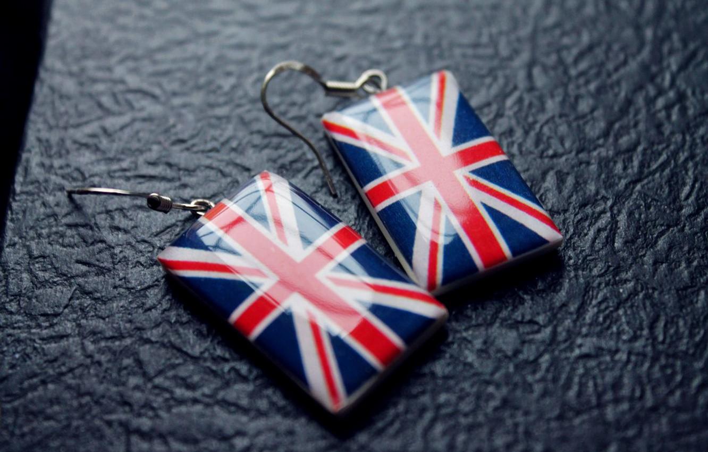 Photo wallpaper England, Flag, UK, Earrings, Notebook