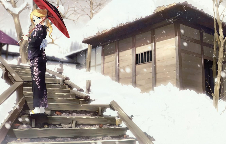 Photo wallpaper girl, umbrella, kimono
