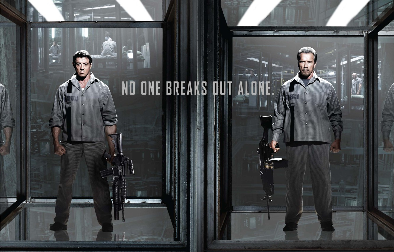Photo wallpaper weapons, Arnold Schwarzenegger, Sylvester Stallone, prison, machines, Sylvester Stallone, Arnold Schwarzenegger, Ray Breslin, Escape plan, …