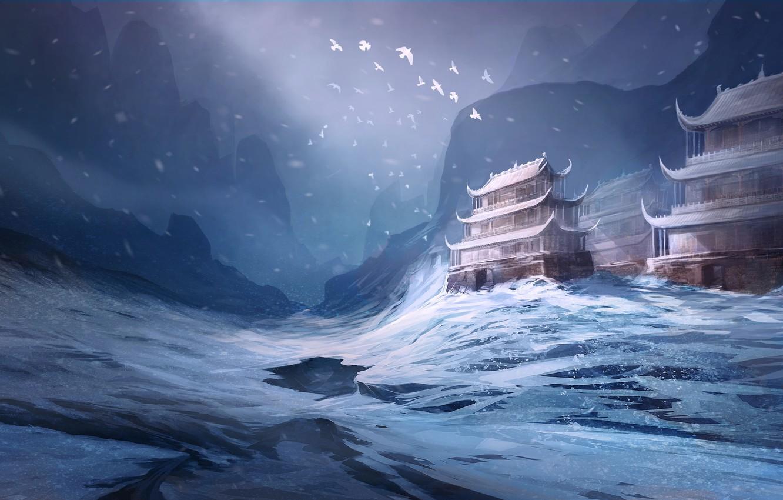 Photo wallpaper winter, snow, birds, Asia, art, temple