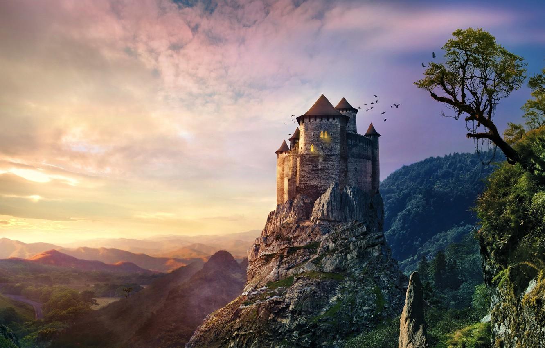 Photo wallpaper sunset, mountains, rock, stones, castle, old, vintage, castle