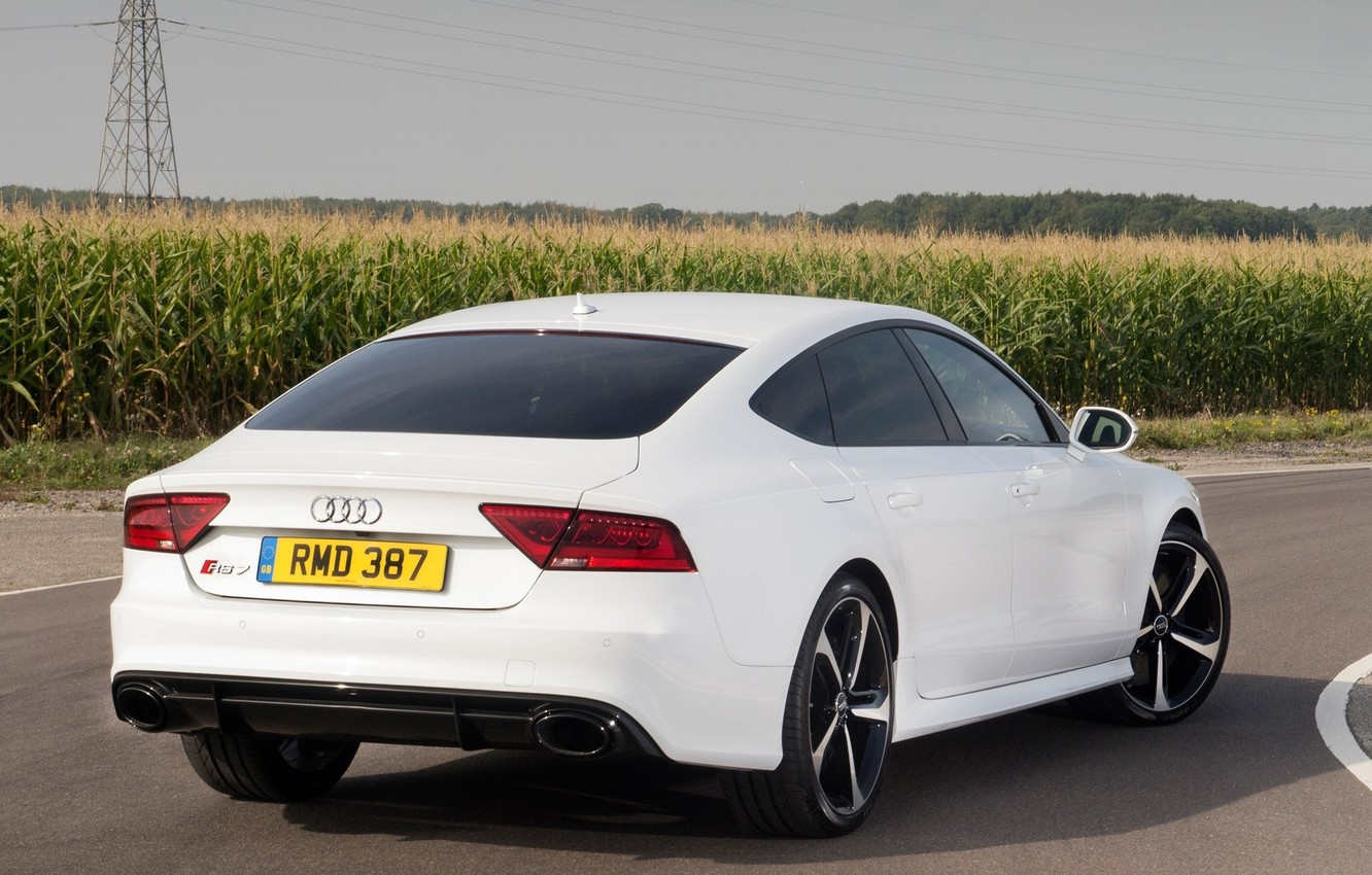 Photo wallpaper road, field, car, Audi, ass, white, rs7
