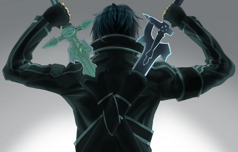 Photo wallpaper back, Sword art online, kirito, Kirito, two swords, sword art online