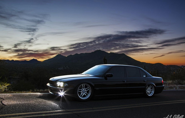 Photo wallpaper bmw, BMW, the evening, black, Boomer, e38, bimmer