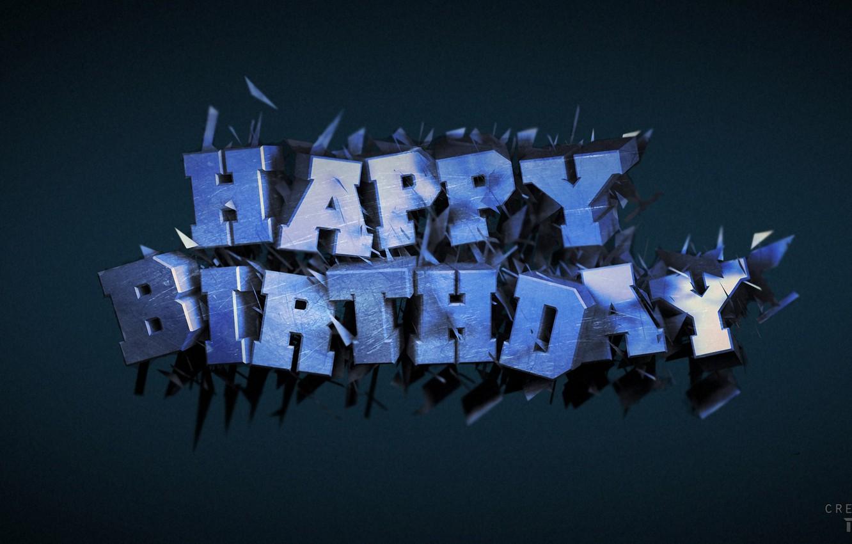 Photo wallpaper text, birthday, cinema 4d, render, render, postcard, B-day, birth day
