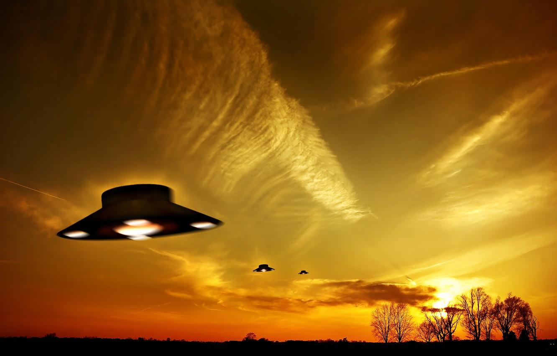 Photo wallpaper the sky, flight, UFO, UFO