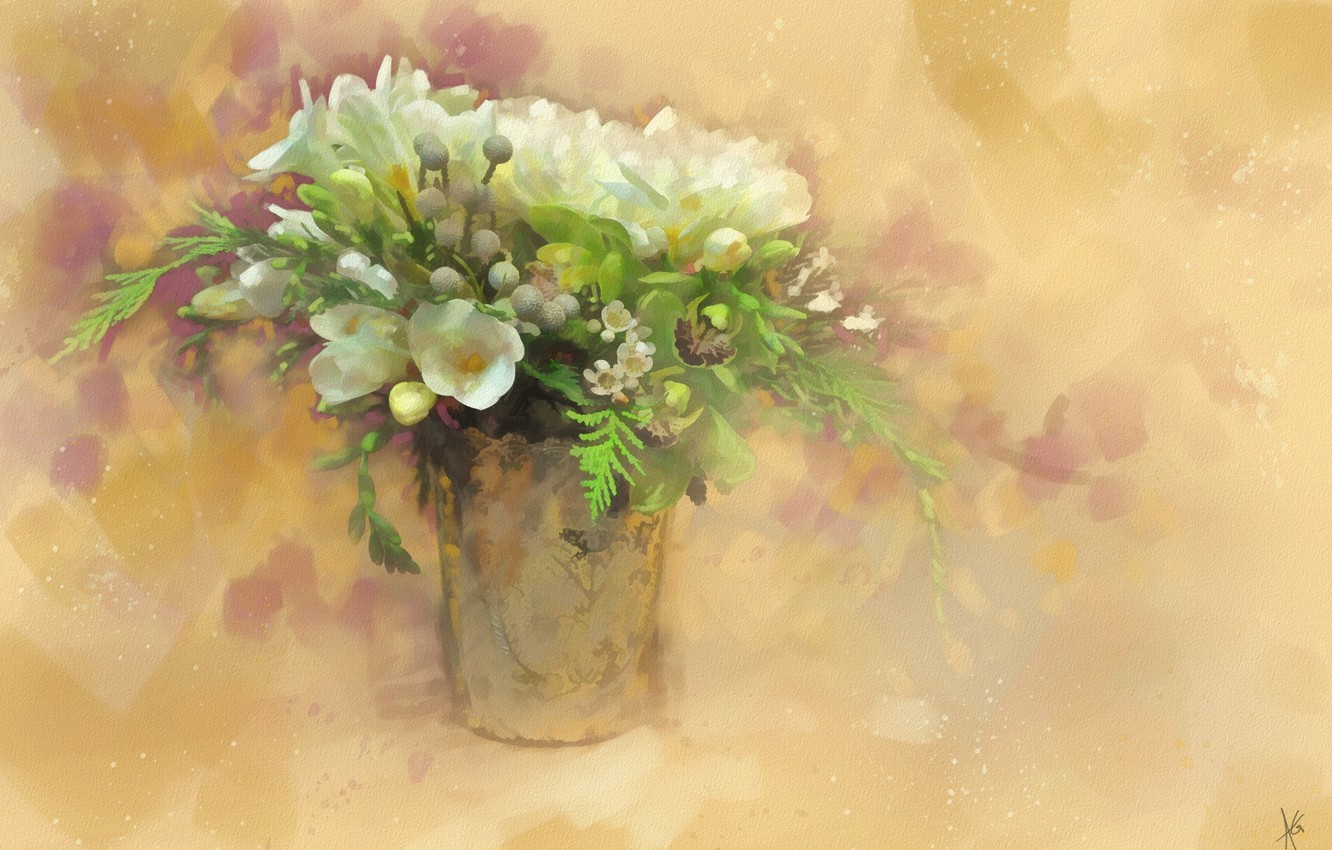Photo wallpaper flowers, bouquet, drawing