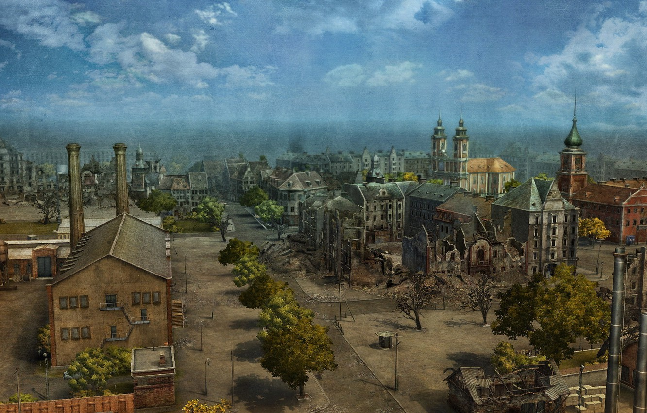 Photo wallpaper summer, the city, game, graphics, building, map, art, panorama, ruins, game, street, WoT, World of …