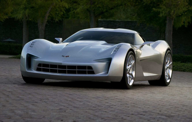 Photo wallpaper road, trees, Auto, Machine, Corvette Stingray
