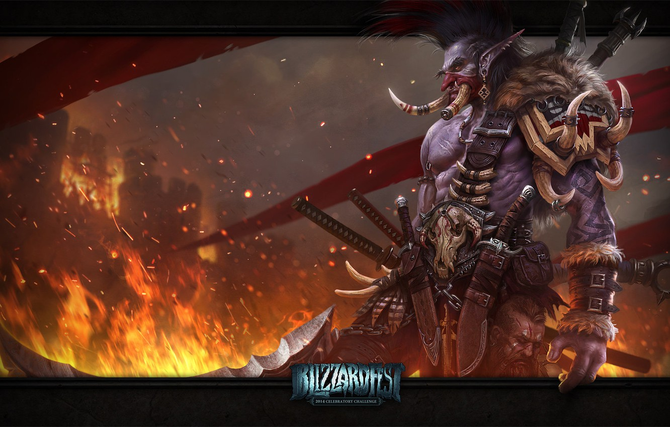 Photo wallpaper weapons, castle, flame, flags, WoW, World of Warcraft, Troll