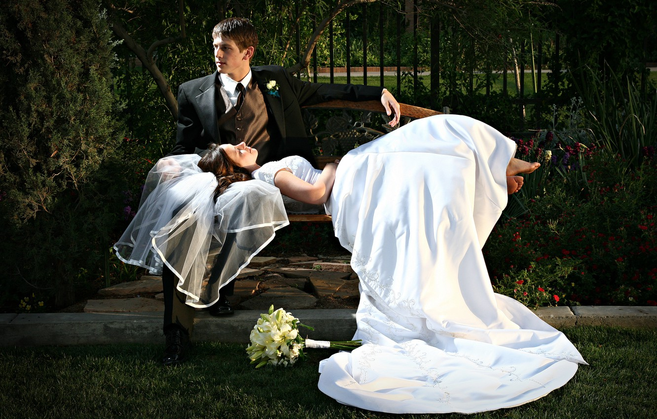 Photo wallpaper couple, wedding, just married
