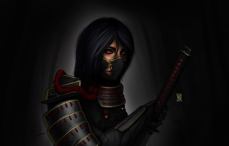 Photo wallpaper girl, the dark background, sword, katana, art, samurai, headband, armor, Romadka