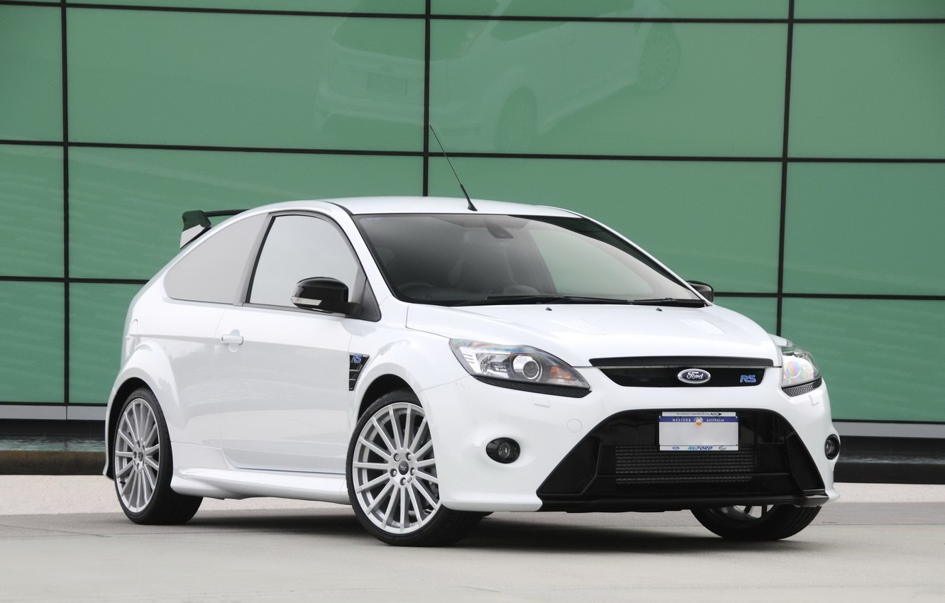 Photo wallpaper green, wall, white, ford, focus