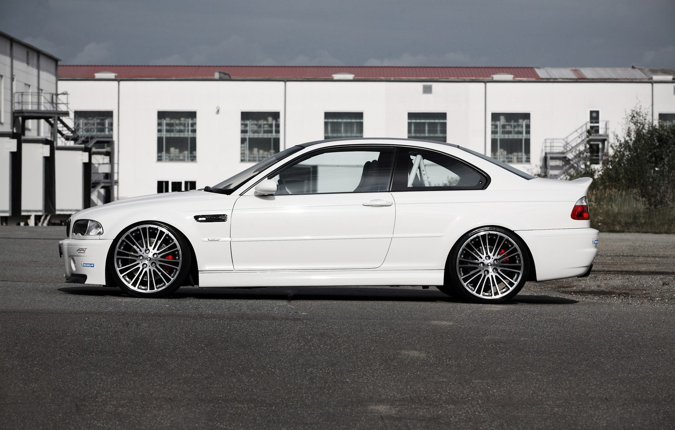 Photo wallpaper white, the sky, clouds, tuning, the building, bmw, BMW, profile, white, drives, g-power, e46, Mr. …