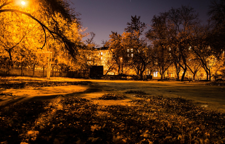 Photo wallpaper autumn, night, the city