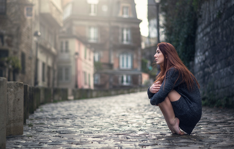 Photo wallpaper girl, street, bridge, Marion Limerat