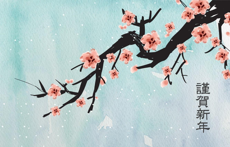 Photo wallpaper flowers, snowflakes, figure, branch, Sakura, characters, blue background