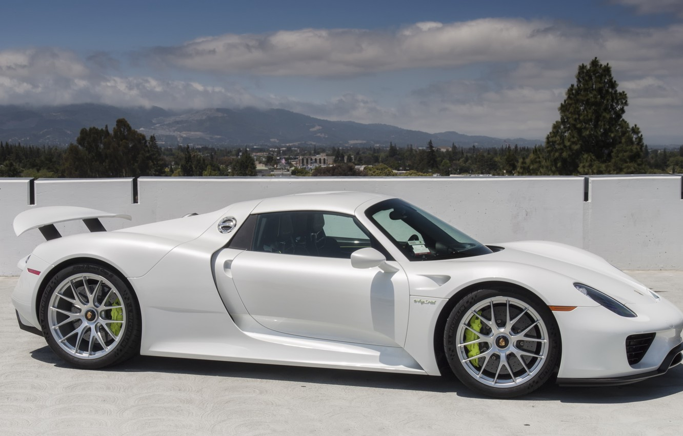 Photo wallpaper city, white, porsche, sky, 918