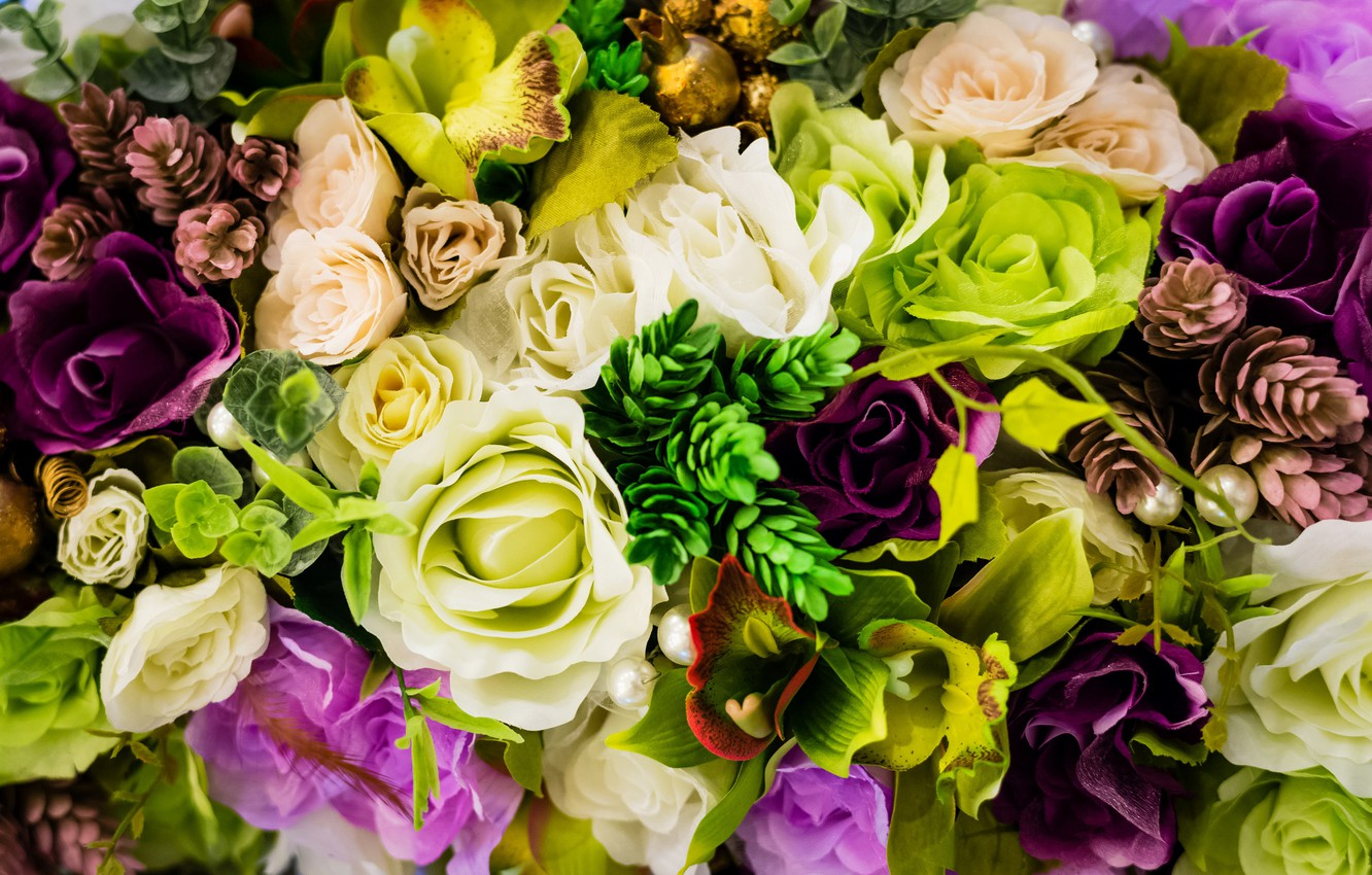 Photo wallpaper photo, Flowers, Roses, Orchids, Closeup, Eustoma