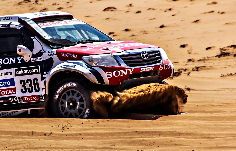Photo wallpaper Sand, Auto, Machine, The hood, Lights, Toyota, Rally, Dakar, SUV, Side view, 336