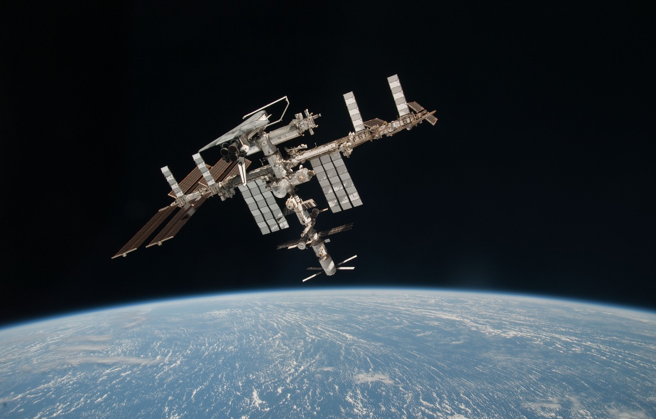 Photo wallpaper space, satellite, ISS, docking, space Shuttle