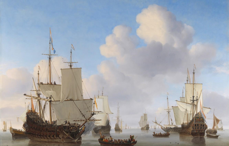 Photo wallpaper sea, water, clouds, ships, boats, sails, calm, flags, Navy, Netherlands, Willem van de Velde the …