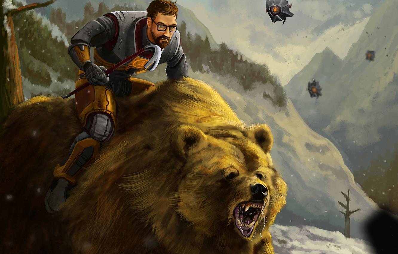 Wallpaper Forest Bear Half Life Fan Art Gordon Freeman