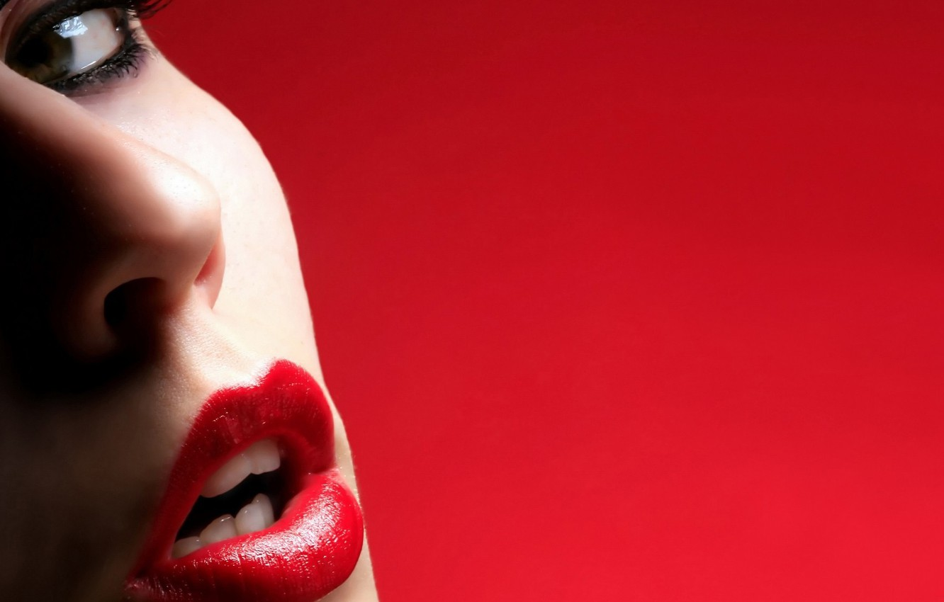 Photo wallpaper girl, face, lips, red background