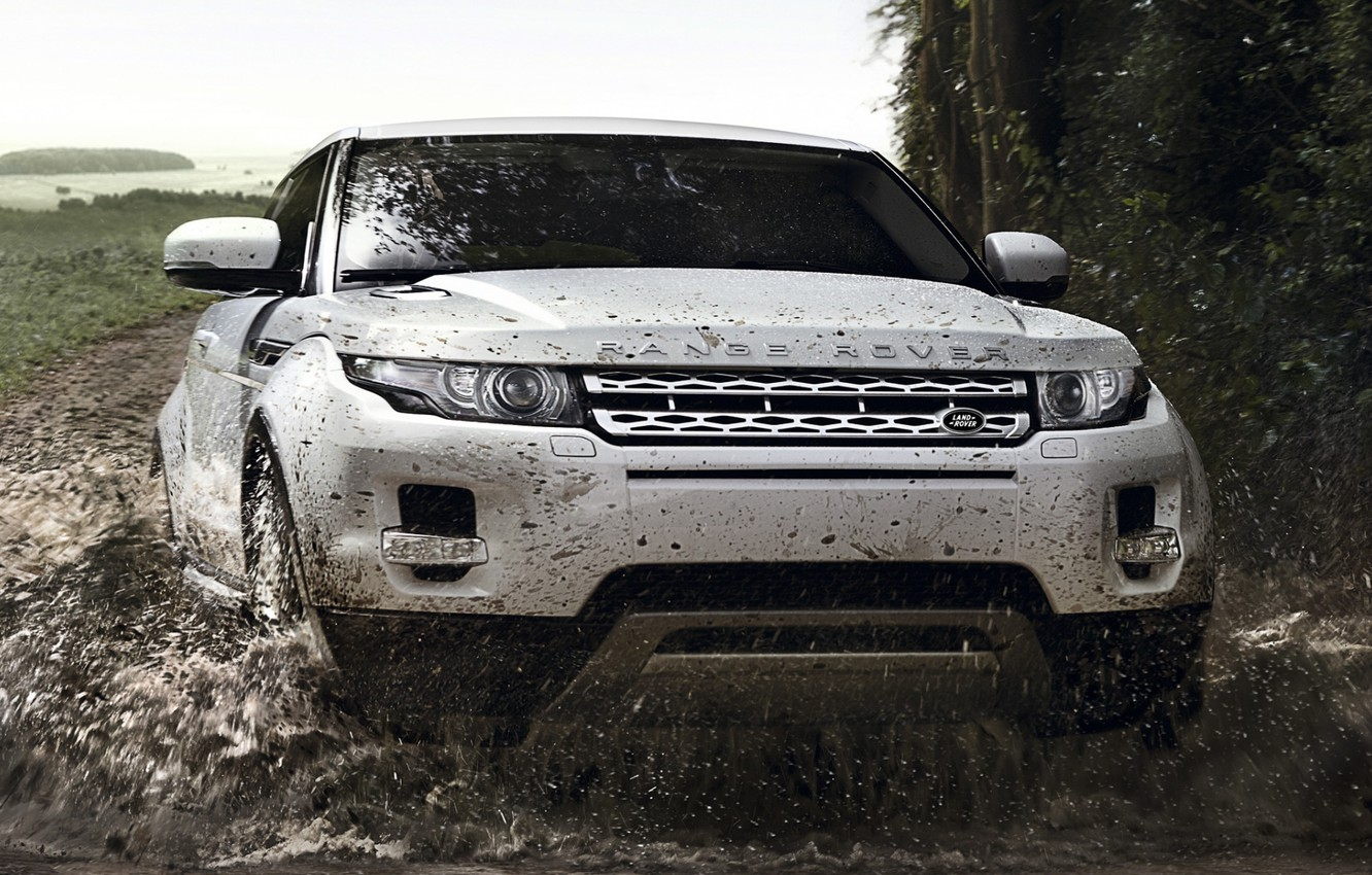 Photo wallpaper road, white, squirt, background, coupe, dirt, jeep, Land Rover, Range Rover, Coupe, the front, Evoque, …