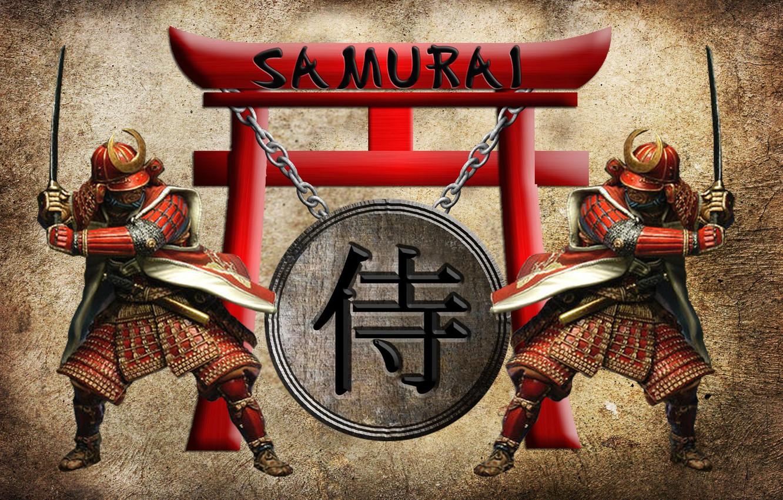 Photo wallpaper katana, armor, chain, characters, helmet, two, stand, samurai, samurai, torii, wakizashi, 3D, torii gate