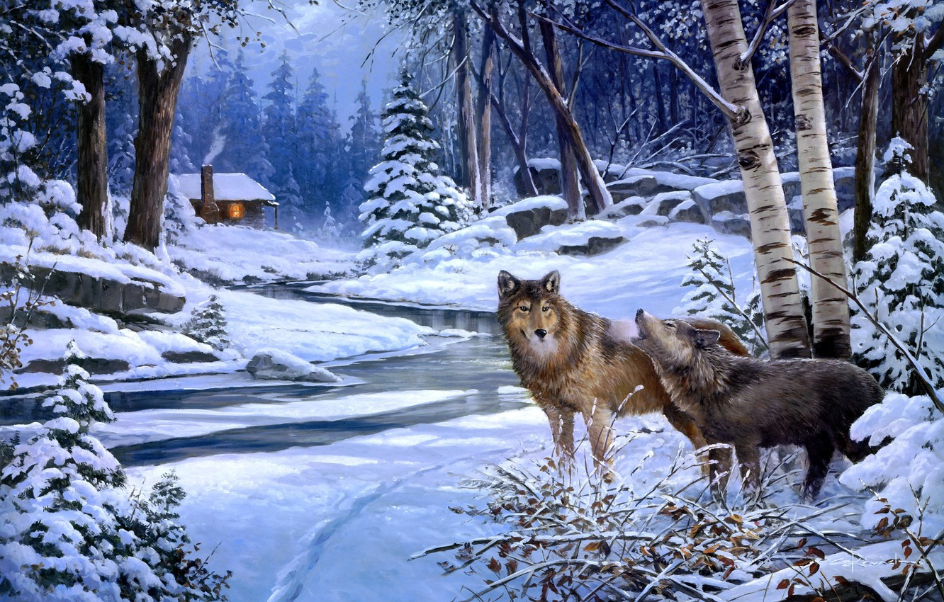 Photo wallpaper winter, forest, animals, snow, wolf, wolves, hut, painting, George Kovach, Return to Cabin Creek, the …