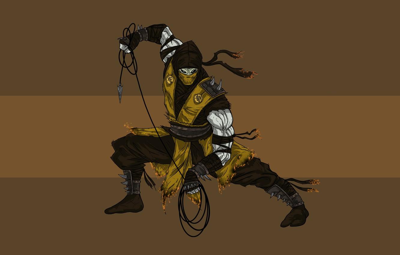 Photo wallpaper Scorpio, ninja, scorpion, mortal kombat