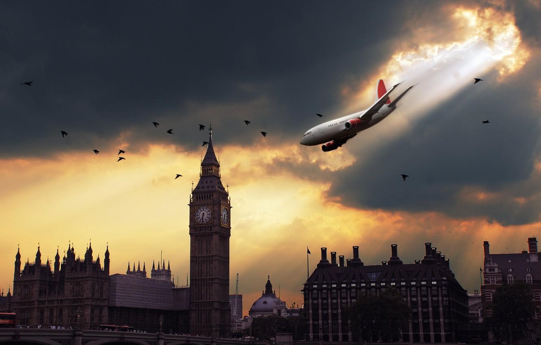 Photo wallpaper the plane, danger, London, drop