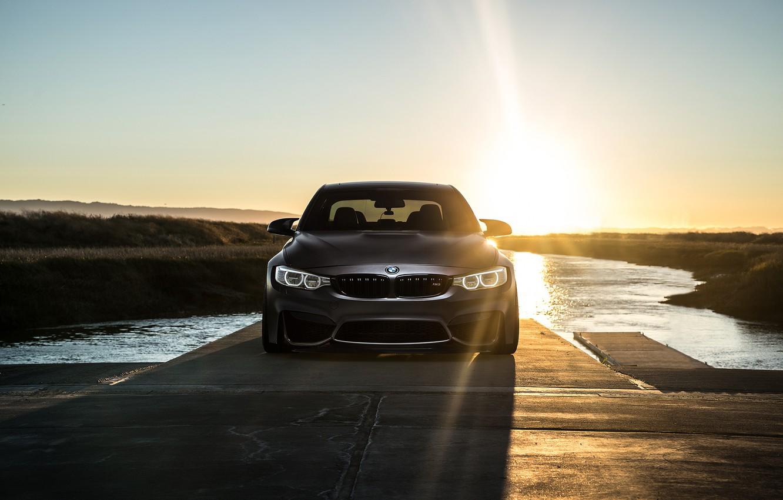 Photo wallpaper BMW, Sky, Carbon, Front, Black, Sun, Water, Matte, F80, Mode