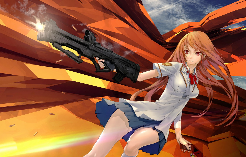Photo wallpaper girl, weapons, phone