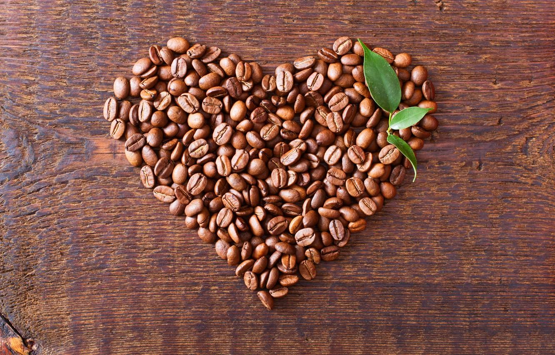 Photo wallpaper love, heart, coffee, grain