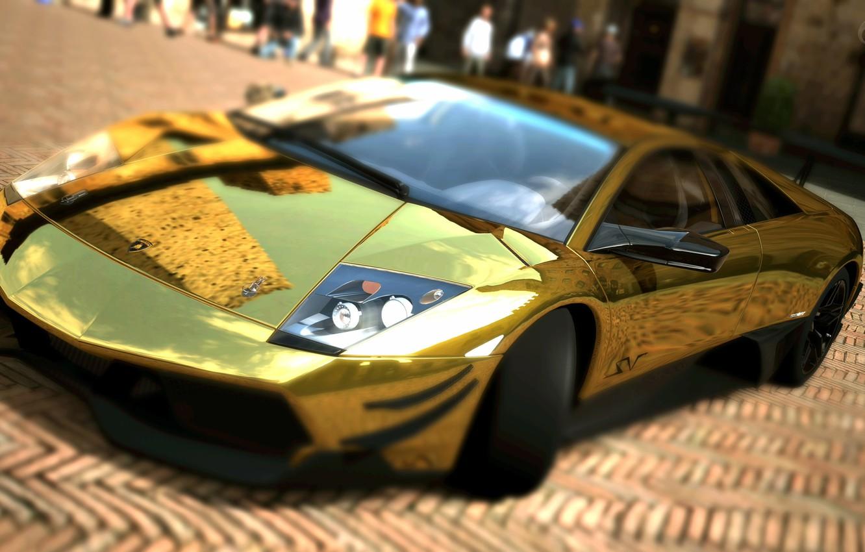 Photo wallpaper Lamborghini, Hot, Cars, Lamborghini Murcielago, Murcielago, Gold, Super Car