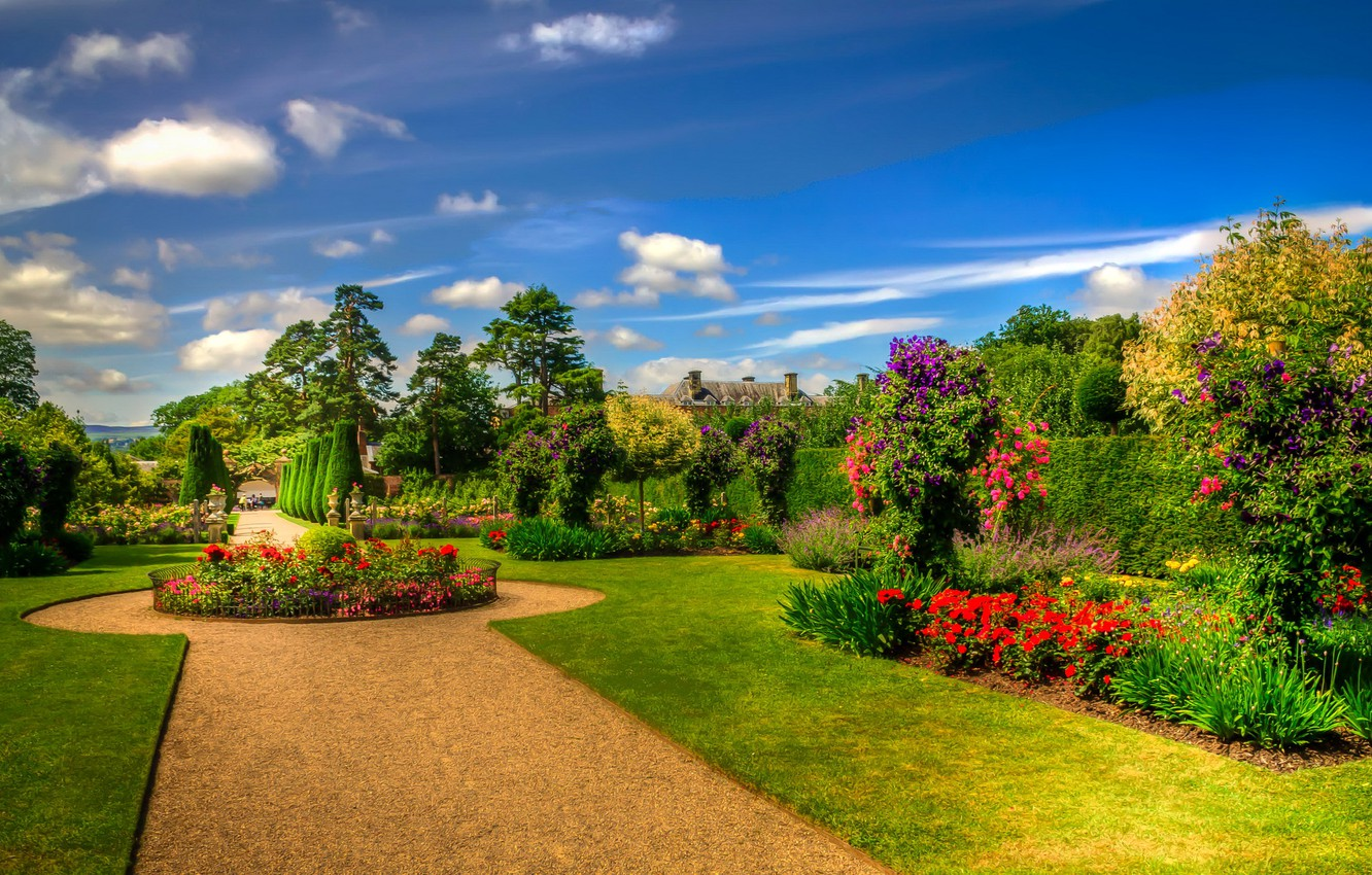 Photo wallpaper the sky, the sun, clouds, trees, flowers, lawn, garden, Scotland, track, the bushes, beds, Erddig …