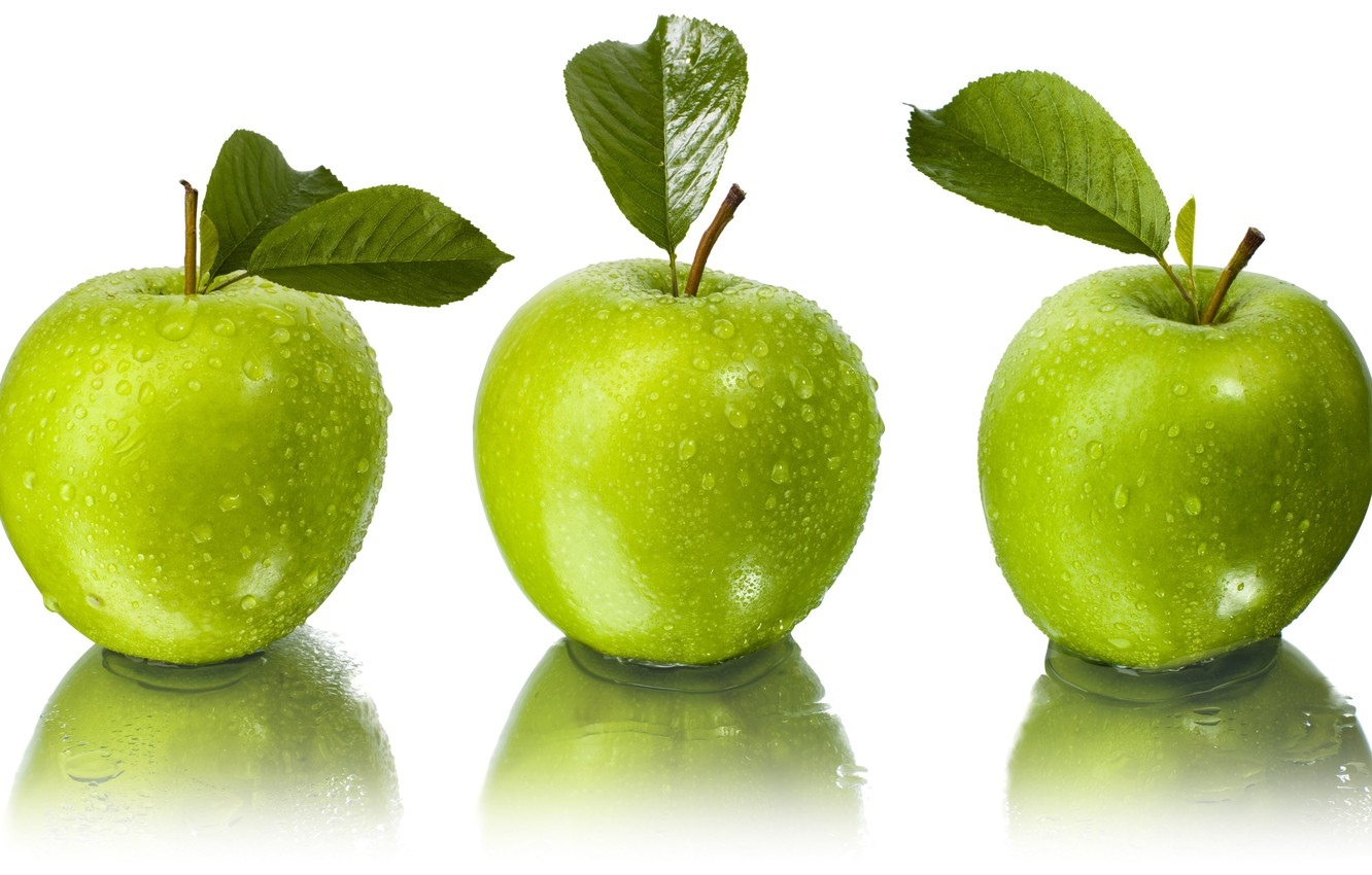 Photo wallpaper leaves, water, drops, reflection, apples, green, white background