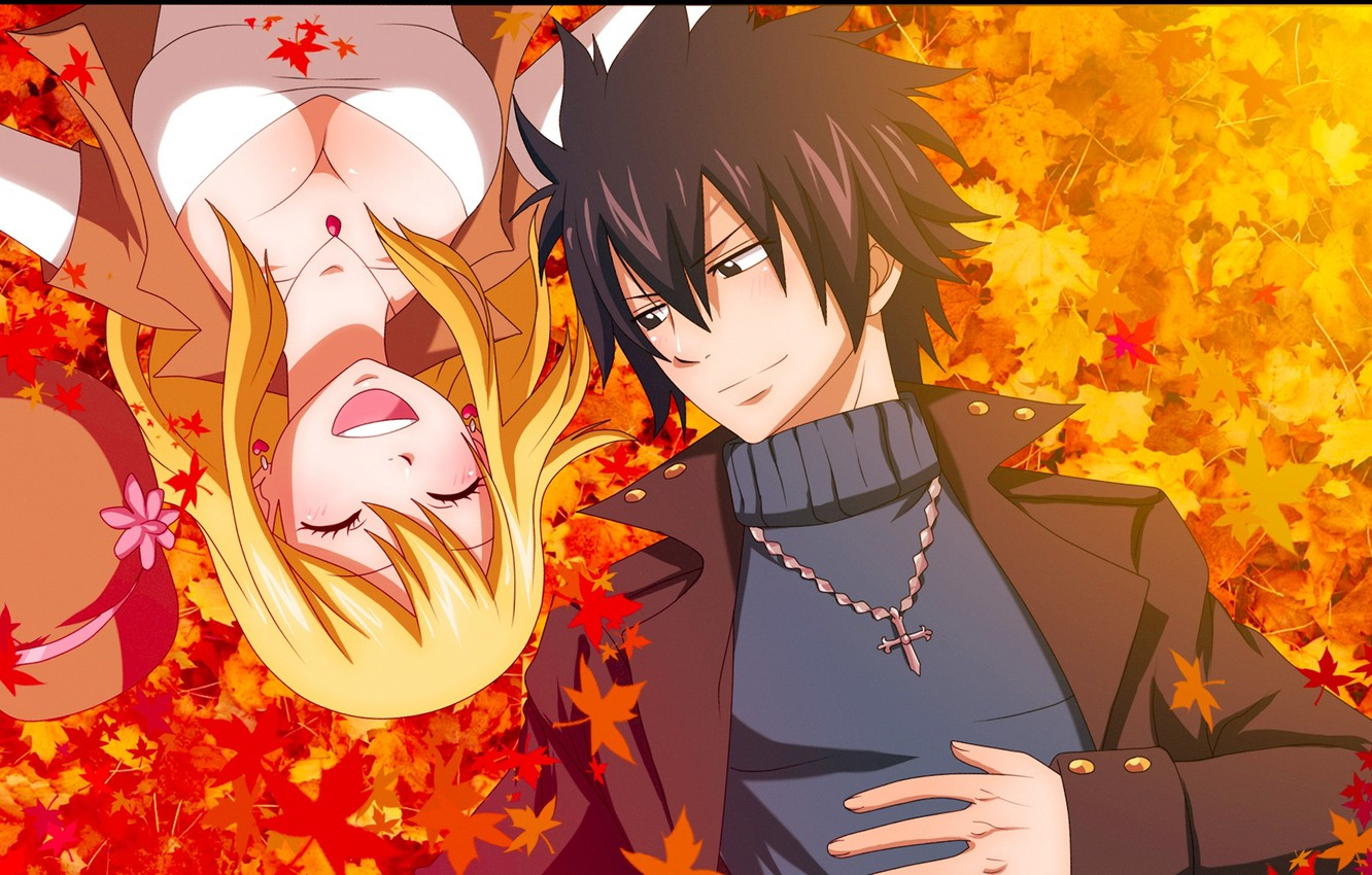 Photo wallpaper autumn, leaves, girl, joy, smile, anime, pair, guy, tale of fairy tail, Fairy Tail, Lucy …