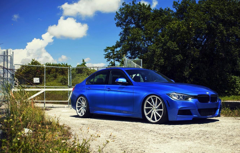 Photo wallpaper BMW, BMW, wheels, blue, 335i, vossen, f30, frontside