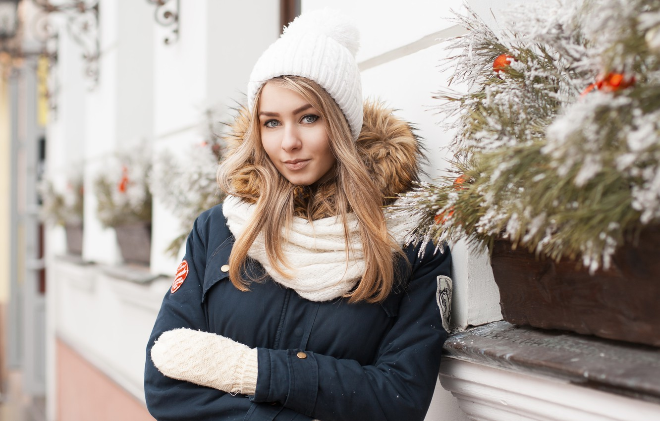 Photo wallpaper winter, hat, the building, Girl, scarf, jacket, Christmas, cafe, New year, mittens, wall.
